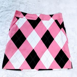 LOUDMOUTH Golf Womens Skort Pink Argyle size 6